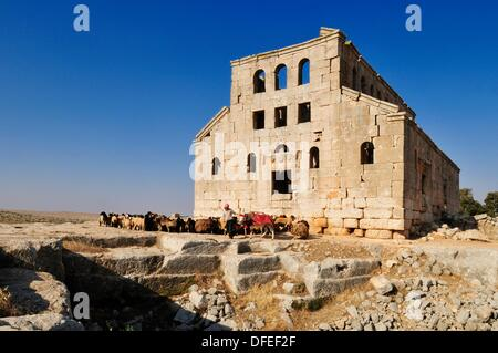 ruin of the byzantine church of Mshabak near Aleppo, Dead Cities, Syria, Middle East, West Asia - Stock Photo
