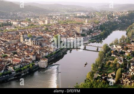 Cahors as seen from Mont Saint-Cyr. Quercy. Vallée du Lot. Midi Pyrénées. France. - Stock Photo