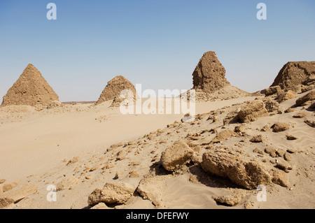 Pyramids of Nuri. Kingdom of Meroe. Sudan. Africa. - Stock Photo