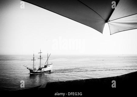 A Tourist Galleon sailing on the Adriatic Sea on the Dubrovnik Coastline, Croatia. - Stock Photo