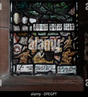 Lieutenant Charles William Peck Memorial Window, 1920, All Saints Episcopal Church, Jordanhill, Glasgow. - Stock Photo