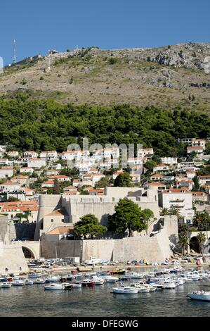 Croatia, Dubrovnik  Old town and Srd hill from the ramparts - Stock Photo