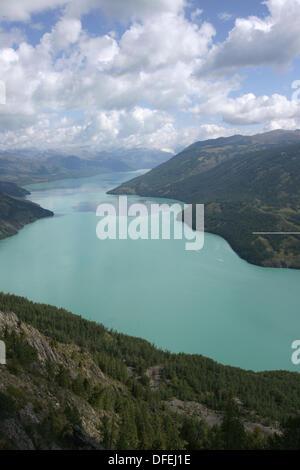 Mountains and lakes, Kanas Lake, Xinjiang, China - Stock Photo