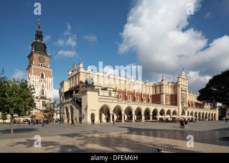 Eastern Europe Poland Malopolska Region Rynek Glowny Main Square Town Hall and Sukiennice Cloth Hall - Stock Photo