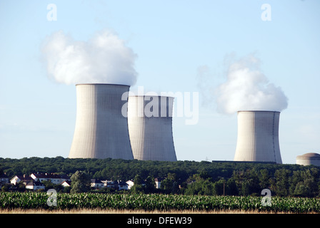 Cattenom EDF nuclear power station, France, viewed from cycle route Chemin de la Moselle. - Stock Photo
