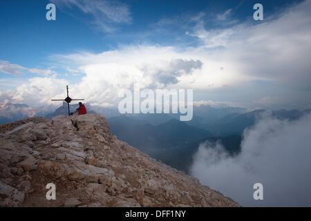 Panoramic view from the top of mount Civetta in the Belluno Dolomites, Unesco world natural heritage site, Italy, - Stock Photo