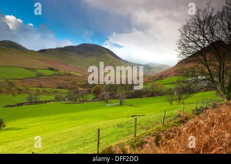 View from Derwent Fells towards Robinson and Ard Crags, Lake District National Park, Little Town, Cumbria, England, - Stock Photo