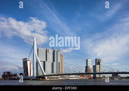 City of Rotterdam downtown skyline and Erasmus Bridge on Nieuwe Maas (New Meuse) river in Netherlands. - Stock Photo