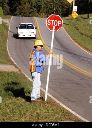 Electric Company Stopping Traffic, USA - Stock Photo