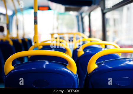 London's double decker bus empty seats - Stock Photo