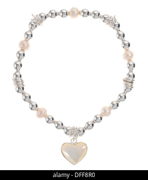 Ladies bracelet of silver, pearls and a heart - Stock Photo
