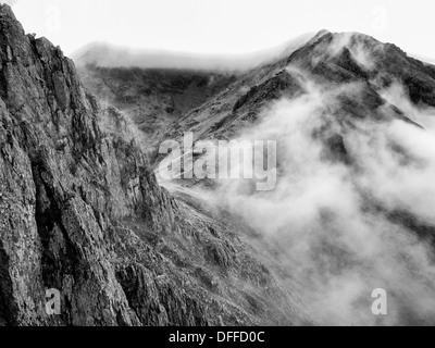 The Snowdon Massif from Crib Goch - Stock Photo