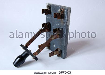 closeup antique old electrical fuse box breaker switch. Black Bedroom Furniture Sets. Home Design Ideas