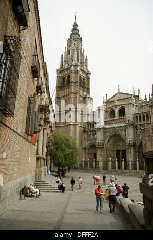 View of La Catedral Primada de Toledo (1226 - 1493). Toledo. Castilla La Mancha. Spain. - Stock Photo