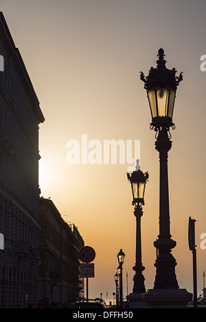 Street lights along the Grande Canal, Trieste, Italy - Stock Photo
