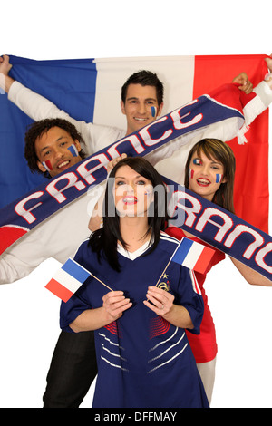 Four avid French sport fans - Stock Photo
