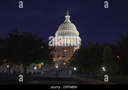 The US Capitol at night. - Stock Photo