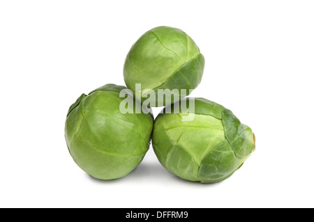 Ripe Green brussel sprouts isolated on white background - Stock Photo
