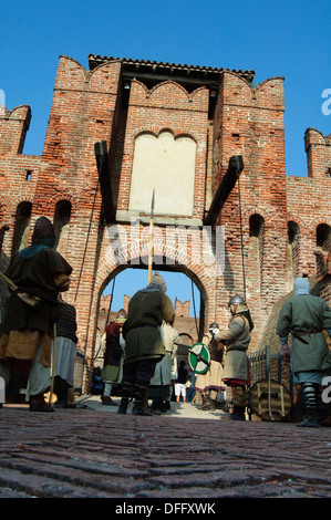 Italy, Lombardy, Soncino, Rocca Sforzesca, Castle, Historical Reenactment, Medieval Soldier - Stock Photo