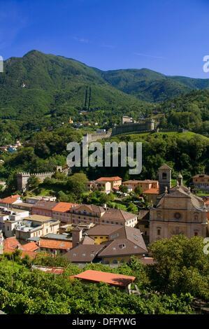 View of the old town centre from Castelgrande showing the Collegiata, the Murata and the Castello di Montebello - Stock Photo