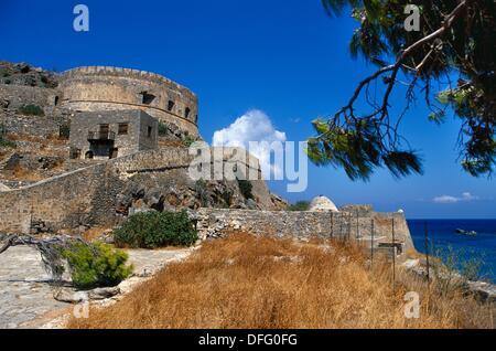 16th Century Venetian Fortress  Spinalonga Island  Gulf of Mirambello, Crete  Greece. - Stock Photo
