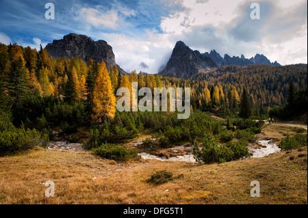 Cristallo mountains near Cortina d'Ampezzo in the Dolomites Mountain Range, Italy. - Stock Photo
