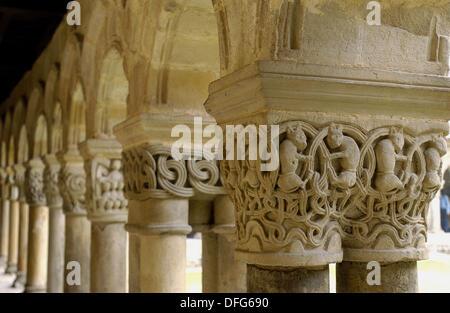 Capitals at cloister of Romanesque collegiate church. Santillana del Mar. Cantabria, Spain - Stock Photo