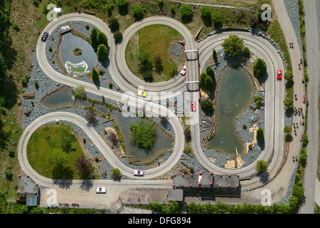 Aerial view, go-kart track in the amusement park of Fort Fun Adventure Land, Bestwig, North Rhine-Westphalia, Germany - Stock Photo