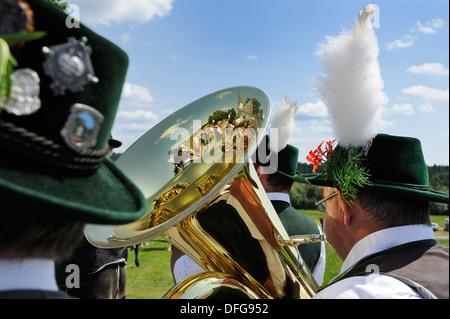 Marching band, Leonhardiritt procession, Harmating, Egling, Upper Bavaria, Bavaria, Germany - Stock Photo