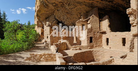 Anasazi cliff dwellings, Spruce Tree House, Echo House, Mesa Verde National Park, Colorado, United States - Stock Photo