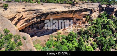 Anasazi cliff dwellings, Cliff Palace, Swallows Nest, Mesa Verde National Park, Colorado, United States - Stock Photo