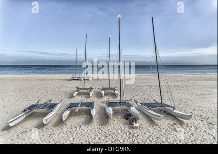 Catamarans on the beach, Hörnum, Sylt, North Frisian Islands, Schleswig-Holstein, Germany - Stock Photo