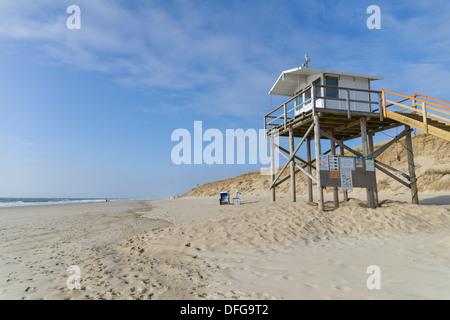 DLRG tower, a lifeguard tower of the German Life Saving Society, on the beach, Rantum, Rantum, Sylt, North Frisian - Stock Photo