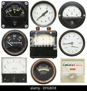 Old gauges isolated on white background - Stock Photo