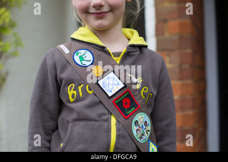 Young Girl wearing Brownie Uniform - Stock Photo