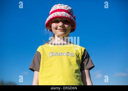 Young Girl wearing Brownie Uniform - Stock Photo