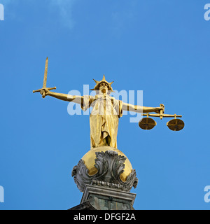 Old Bailey Statue of Lady Justice. Central Criminal Court, London, United Kingdom. - Stock Photo