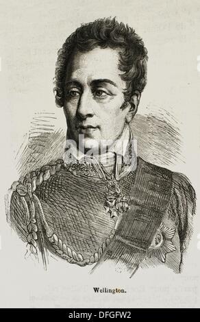 UK-History-XIXc - Field Marshal Arthur Wellesley, 1st Duke of Wellington, KG, KP, GCB, GCH, PC, FRS c  29 April/1 - Stock Photo