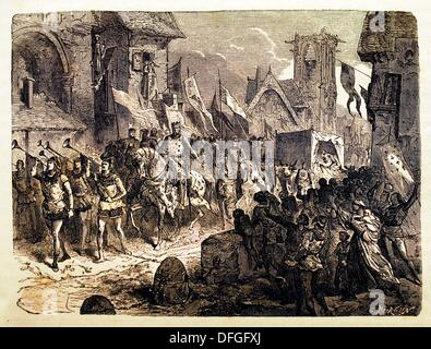 France, History- Triumphal return of Philip II Augustus French: Philippe Auguste, 21 August 1165 - 14 July 1223 - Stock Photo