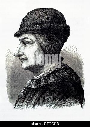 France-History- Louis XI 3 July 1423 – 30 August 1483, called the Prudent French: le Prudent and the Universal Spider - Stock Photo