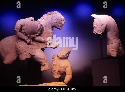 Iberian sculpture, Jaen Museum. Jaen. Spain - Stock Photo