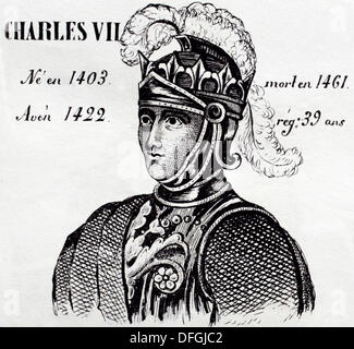 Charles VII, king of France from 1422 to 1461. History of France, by  J.Henry (Paris, 1842) - Stock Photo