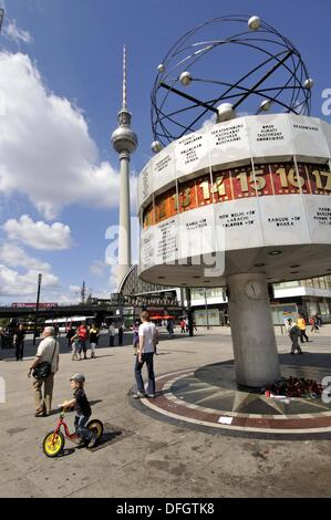 World Time Clock in Alexanderplatz, Berlin, Germany - Stock Photo