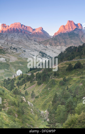 Sunrise in Somport valley and view of Aspe peak (2645 m), Somport, Huesca, Spain - Stock Photo