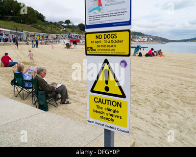 Safety notice on beach at Lyme Regis Dorset England - Stock Photo