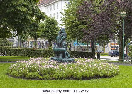 Sculpture in Theatre Gardens, Bergen, Norway, Scandinavia, Europe ...