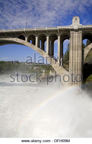 Spokane River in Major Flood, Riverfront Park, Spokane, Washington State, USA - Stock Photo
