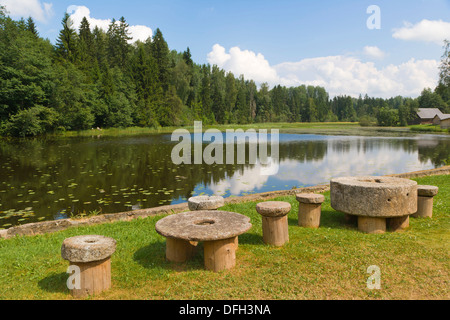Lake, Viktora Kirpa Ates museum, Ate, Annas Parish, Aluksne municipality, Latvia. - Stock Photo