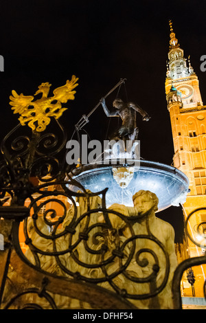 Neptune's Fountain in front of Town Hall at Long Market, Gdansk, Poland - Stock Photo