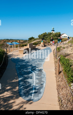 California, San Diego, Point Loma, Gray Whale (Eschrichtius robustus) design on sidewalk to migration route viewing - Stock Photo